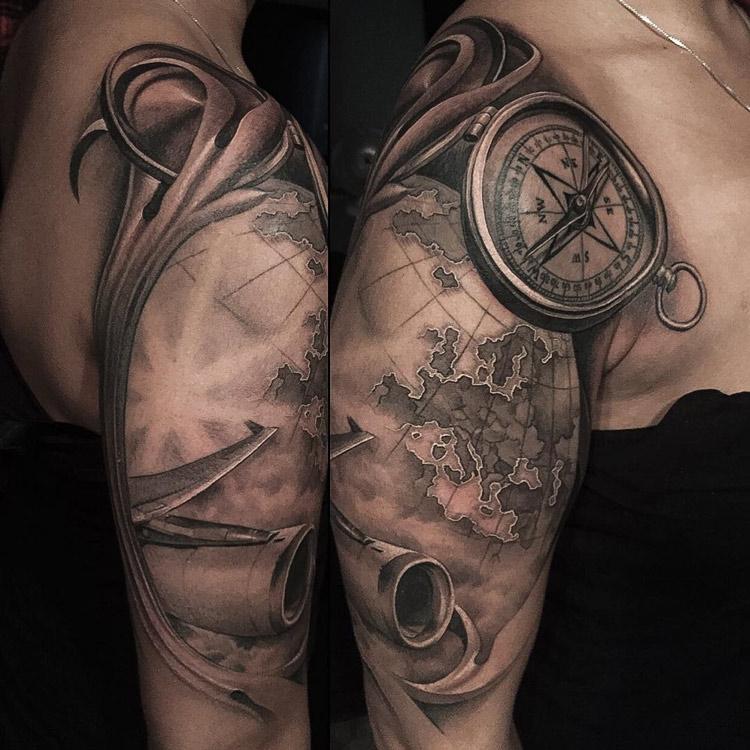 Compass Map Amp Plane Travel Tattoo Best Tattoo Design Ideas