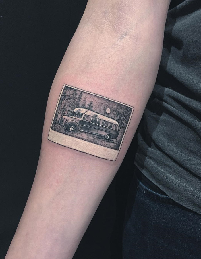 Into the Wild Polaroid Photo Tattoo