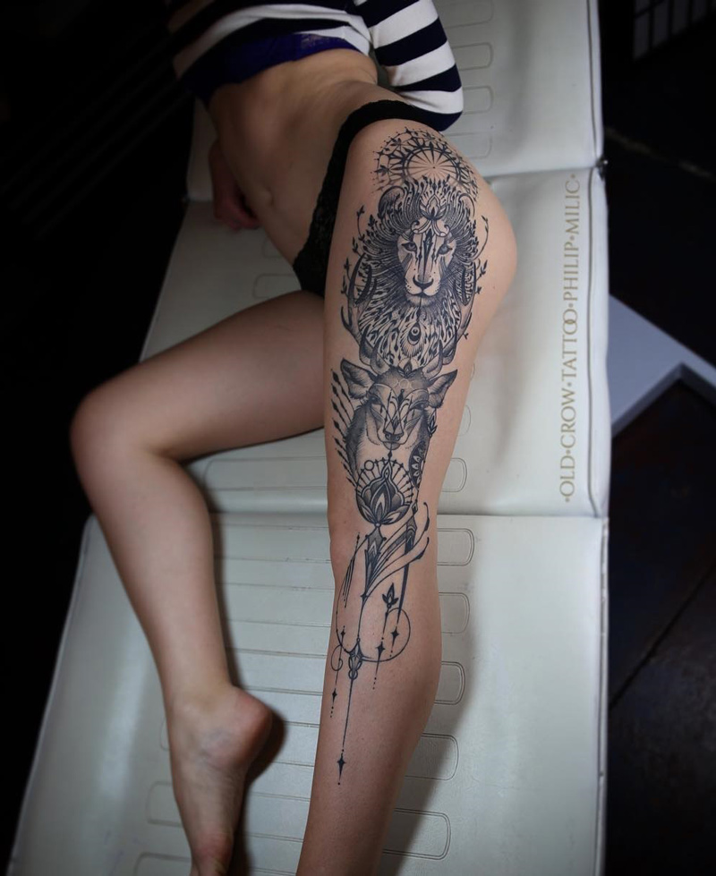 d7bed7a9f gentle. Lion & Deer Leg Tattoo