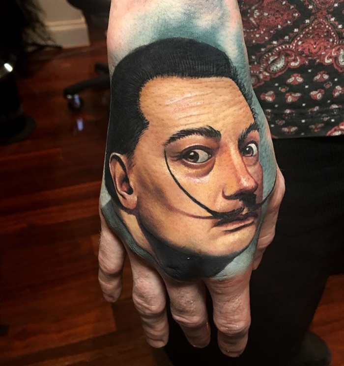 Salvador Dali Hand Tattoo