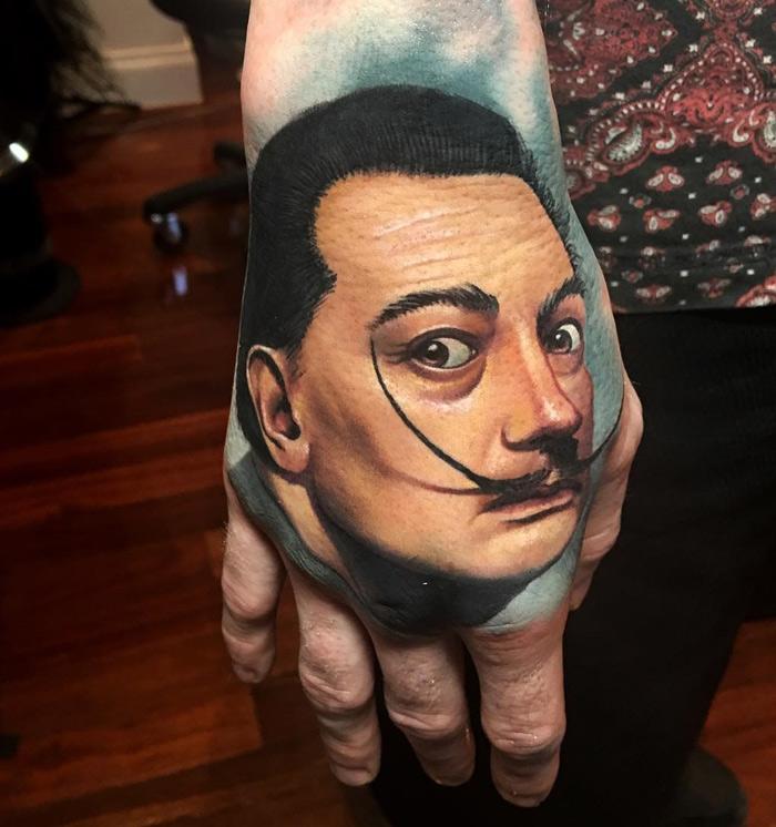 Salvador Dali Hand Tattoo