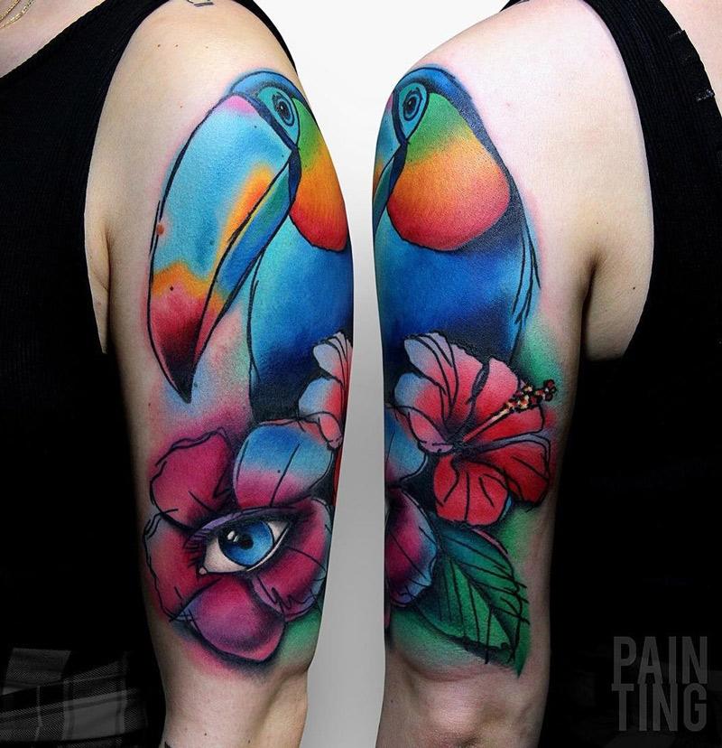Colorful Tucan & Hibiscus