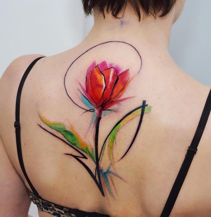 Tulip Watercolor Back Tattoo