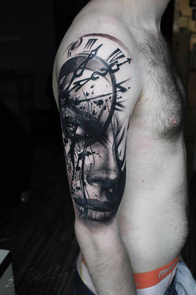 realistic portrait clock face arm tattoo best tattoo design ideas. Black Bedroom Furniture Sets. Home Design Ideas