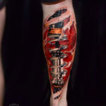 Biomechanical Calf Tattoo