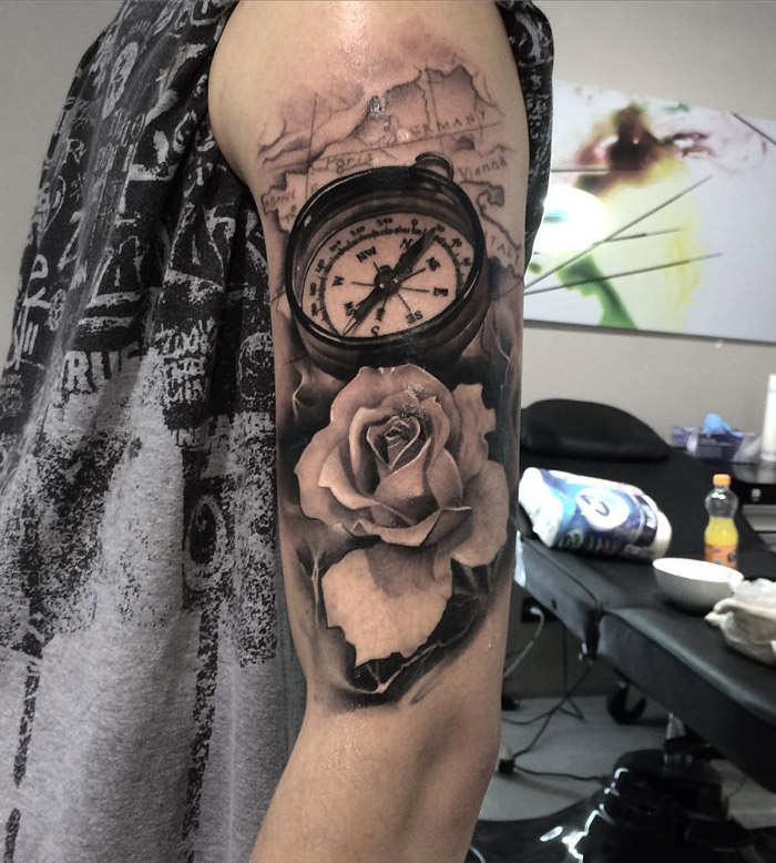 Compass, Rose & Map Realism Arm Tattoo | Best tattoo design ideas