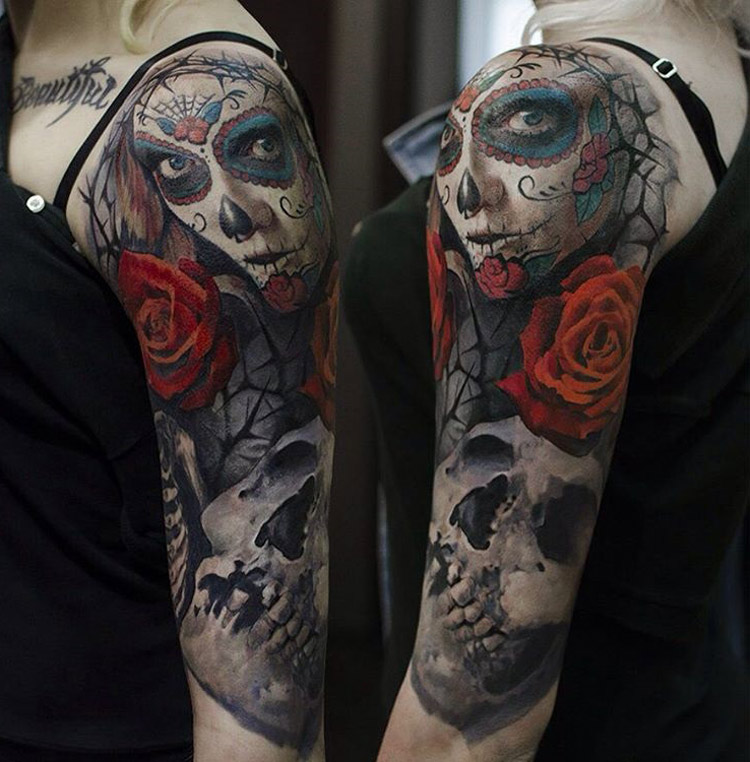 day of the dead rose skull arm piece best tattoo design ideas. Black Bedroom Furniture Sets. Home Design Ideas
