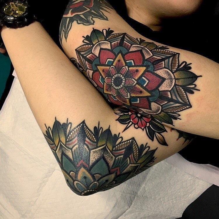 Inner Elbow Mandala Tattoo: Elbow Tattoos