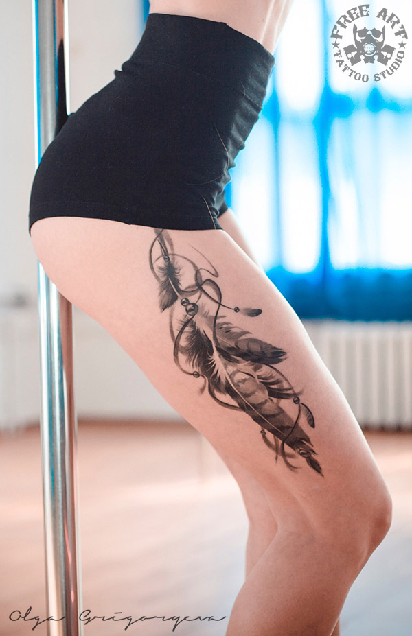 Pretty feathers thigh tattoo best tattoo design ideas for Getting thigh tattoo