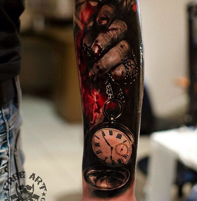 Salvador dali portrait best tattoo design ideas for Pocket watches tattoos