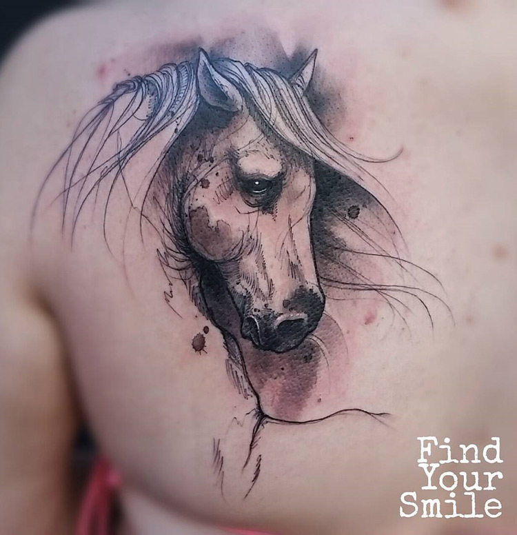 Horse sketch back tattoo