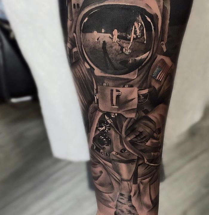 Spaceman Moon Landing Sleeve Best Tattoo Design Ideas