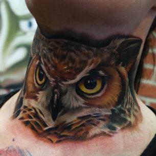 Realistic Owl Neck Tattoo