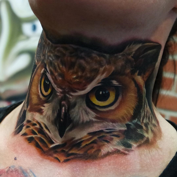 Great Horned Owl Black And Grey Tattoo Realism Owl Neck Tatto...
