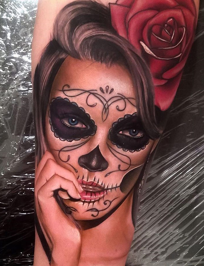 day of the dead portrait realism piece best tattoo design ideas. Black Bedroom Furniture Sets. Home Design Ideas