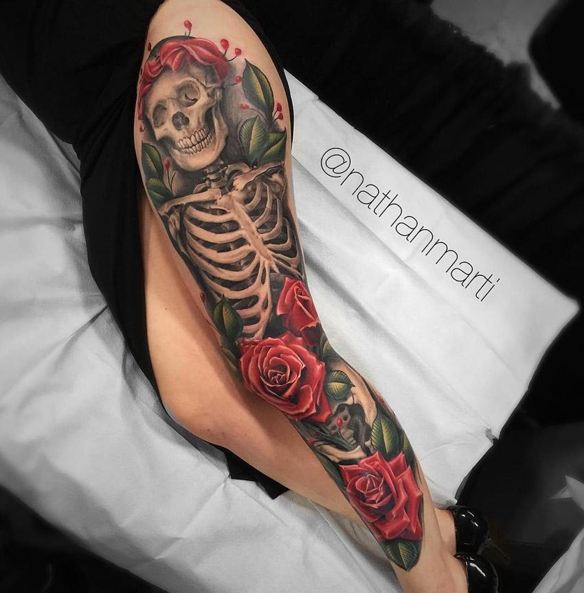 skeleton roses leg sleeve best tattoo design ideas. Black Bedroom Furniture Sets. Home Design Ideas
