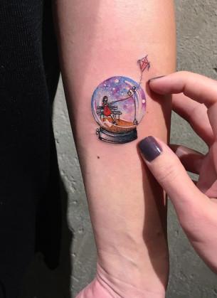 Snowglobe Minimal Tattoo