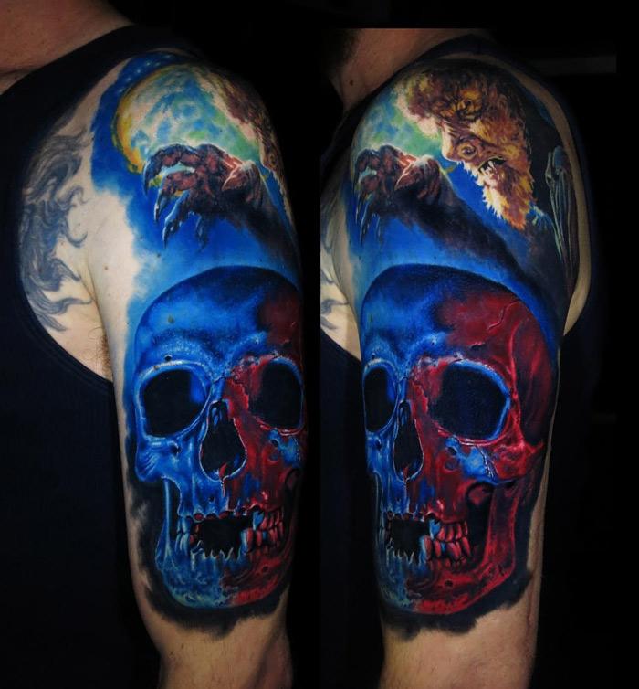 Werewolf & Skull tattoo