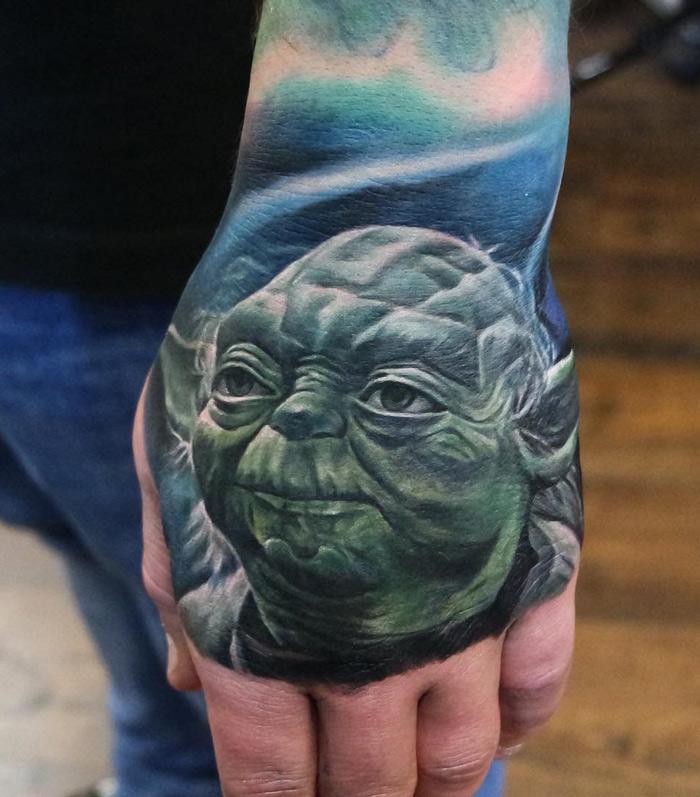Yoda Hand Tattoo