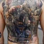 Ganesha large back tattoo