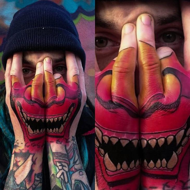 hannya face mask on guys hands best tattoo design ideas. Black Bedroom Furniture Sets. Home Design Ideas