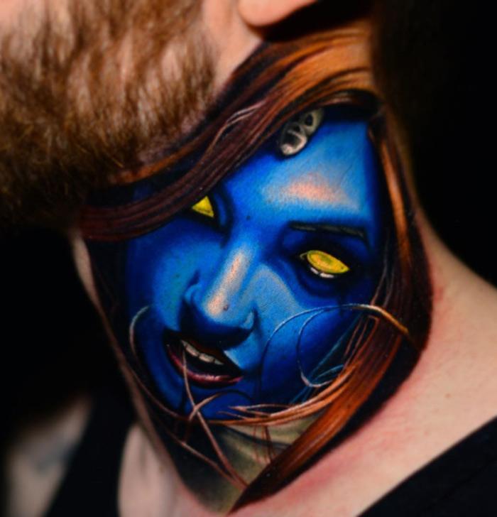 Mystique Neck Tattoo