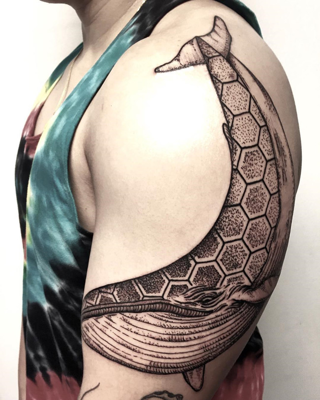 Blue Whale Hexagons Tattoo