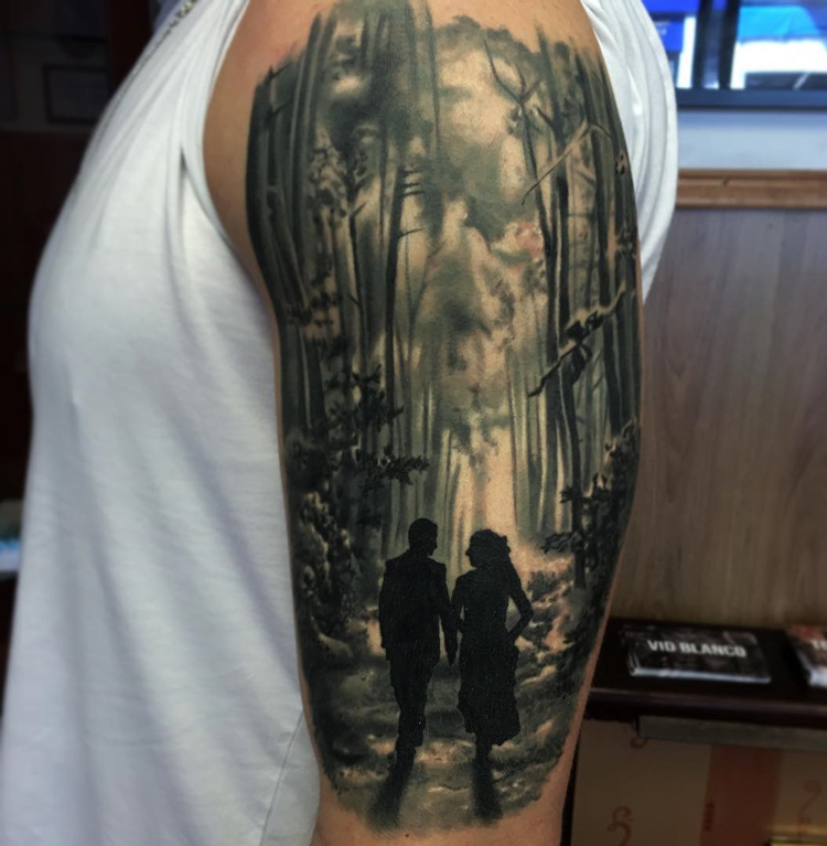 Couple in the Forest | Best tattoo design ideas