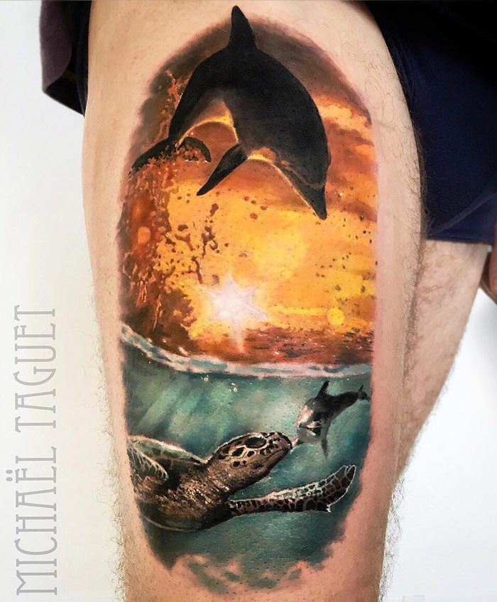 Dolphin & Turtle Thight Tattoo