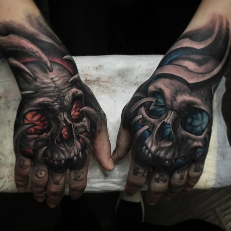 Glowing Hand Skulls Best Tattoo Design Ideas