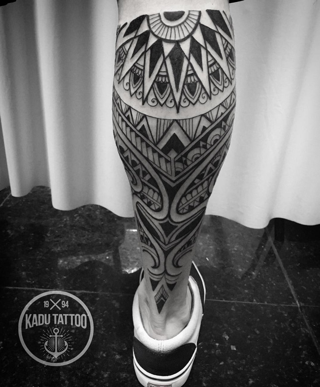 Maori Tribal Leg Tattoo