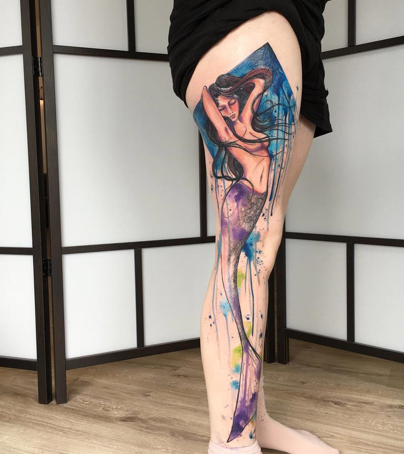 Full Leg Mermaid Tattoo