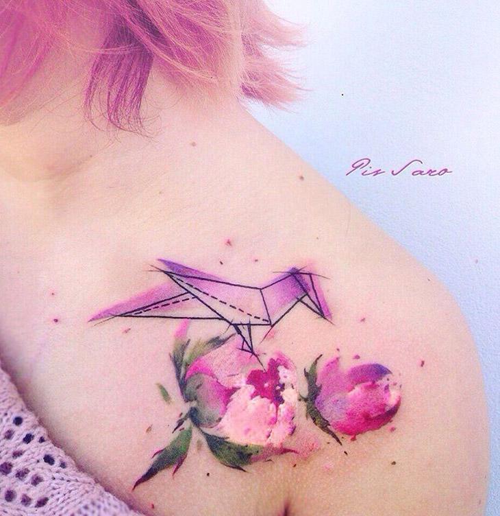 Origami & peony tattoo