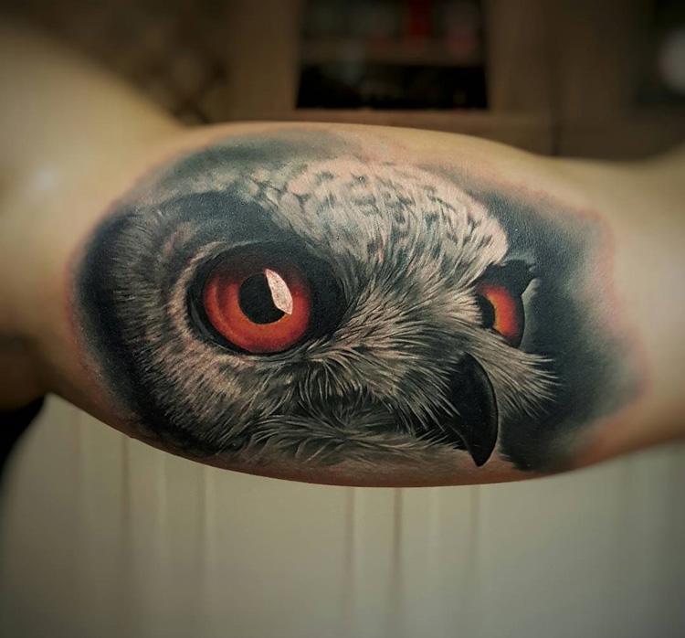 Realistic Owl Piercing Orange Eyes Best Tattoo Design Ideas
