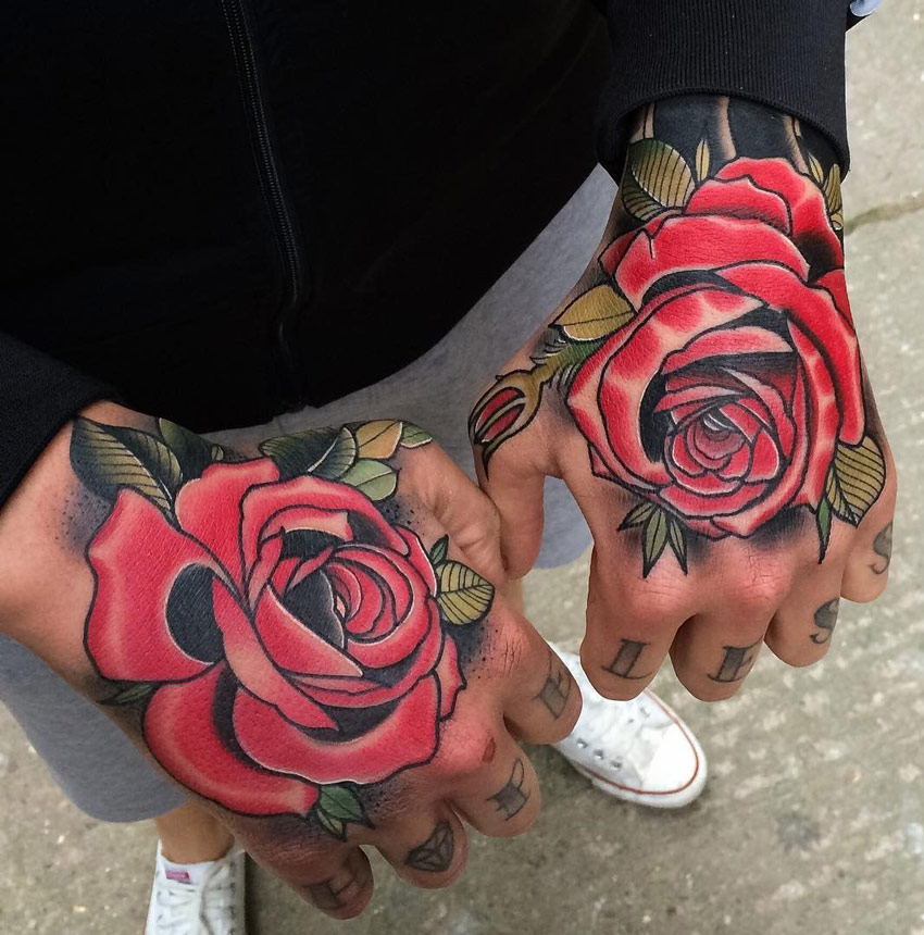 Double Red Rose Hand Tattoo