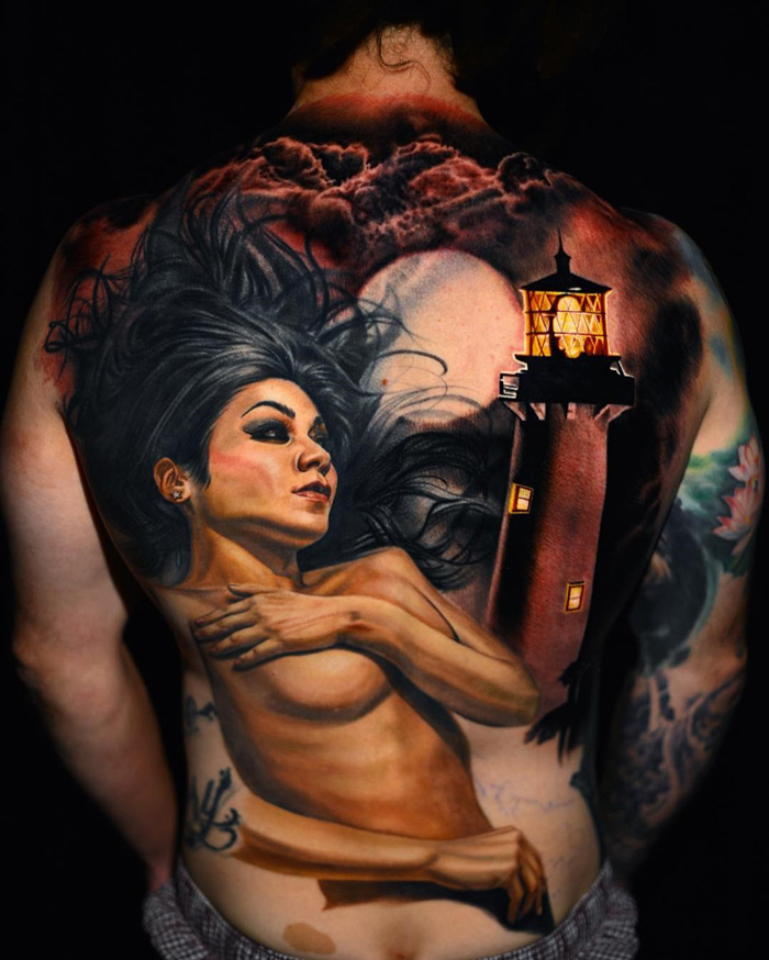 Lady & LIghthouse Back Tattoo