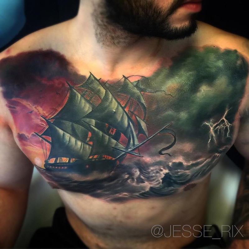 sailing ship in a stormy seas best tattoo design ideas