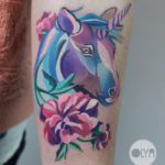 Unicorn & Peony Tattoo