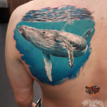 Blue Whale back tattoo