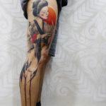 Geisha & Crane Leg Tattoo