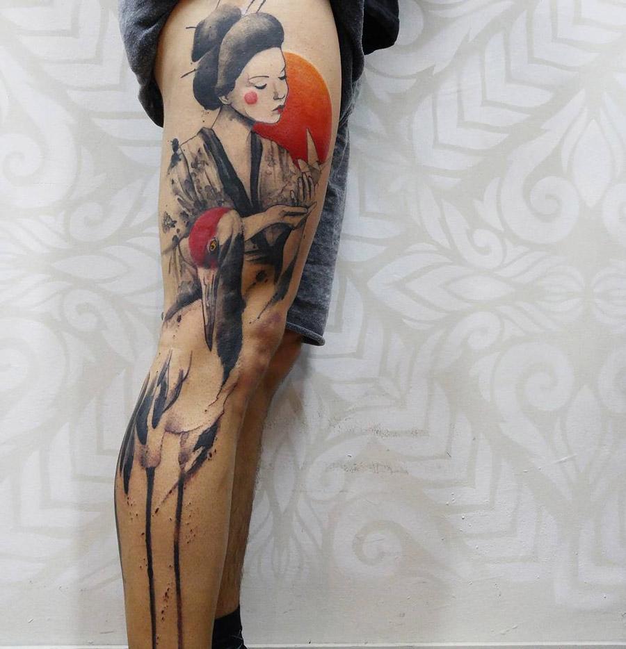 Geisha & Crane Japanese Piece