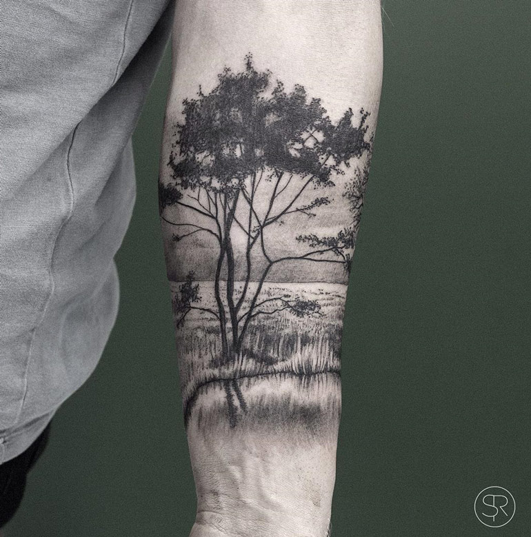 trees water park nature scene on guys forearm best tattoo design ideas. Black Bedroom Furniture Sets. Home Design Ideas
