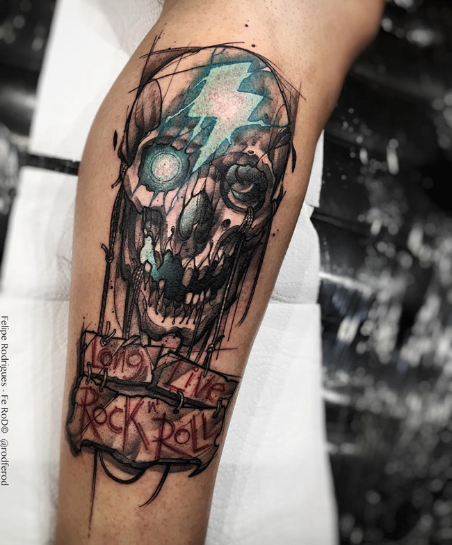 skull long live rock 39 n roll best tattoo design ideas