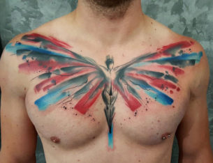 Angel Chest Tattoo