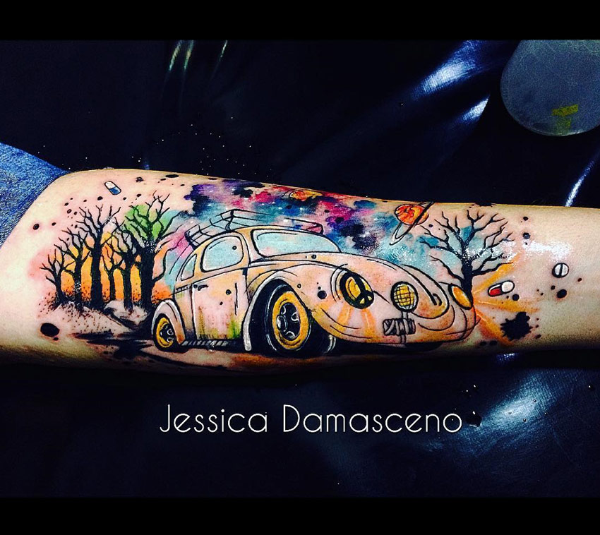 Watercolor VW Beetle Tattoo