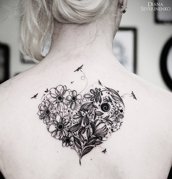Flowery heart tattoo