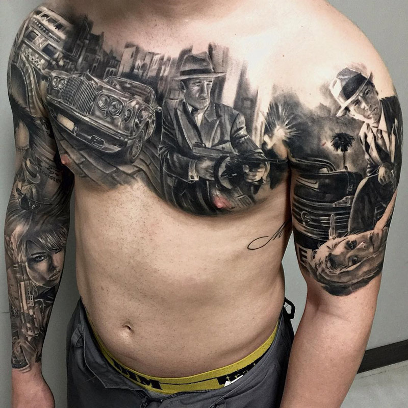 Gangster Scene Chest Tattoo