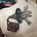 Gramophone back tattoo