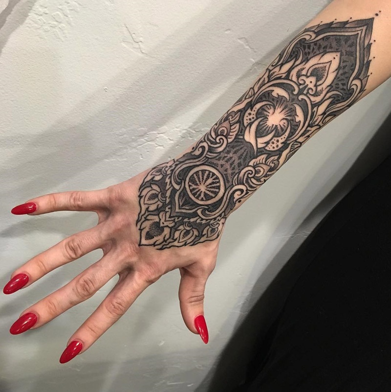 Ornamental hand & forearm tattoo