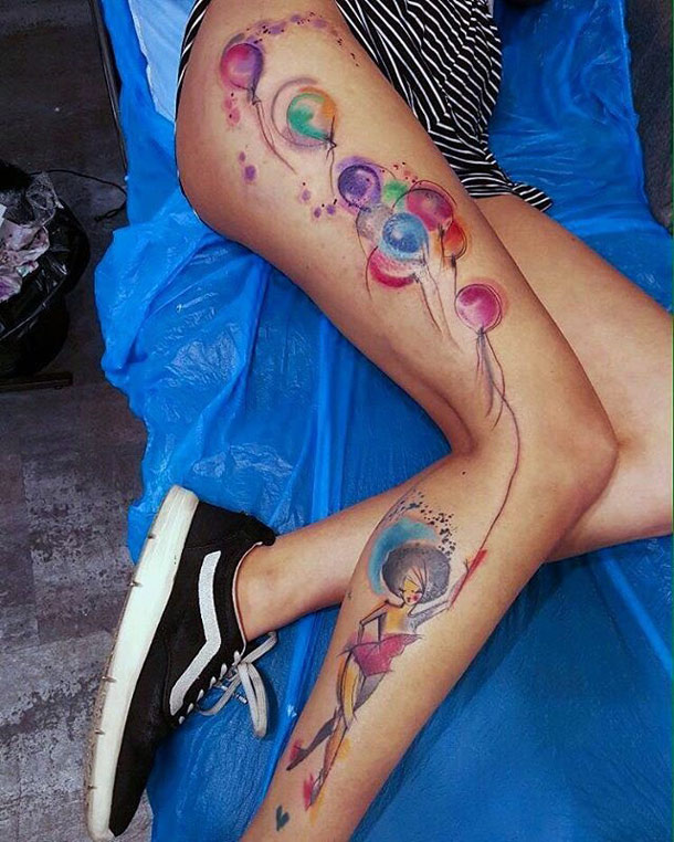 Lady with Balloons Tattoo
